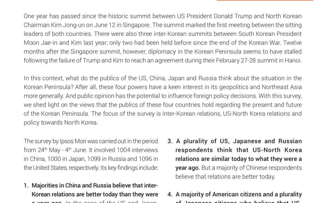 Survey analysis: One year after the Singapore summit