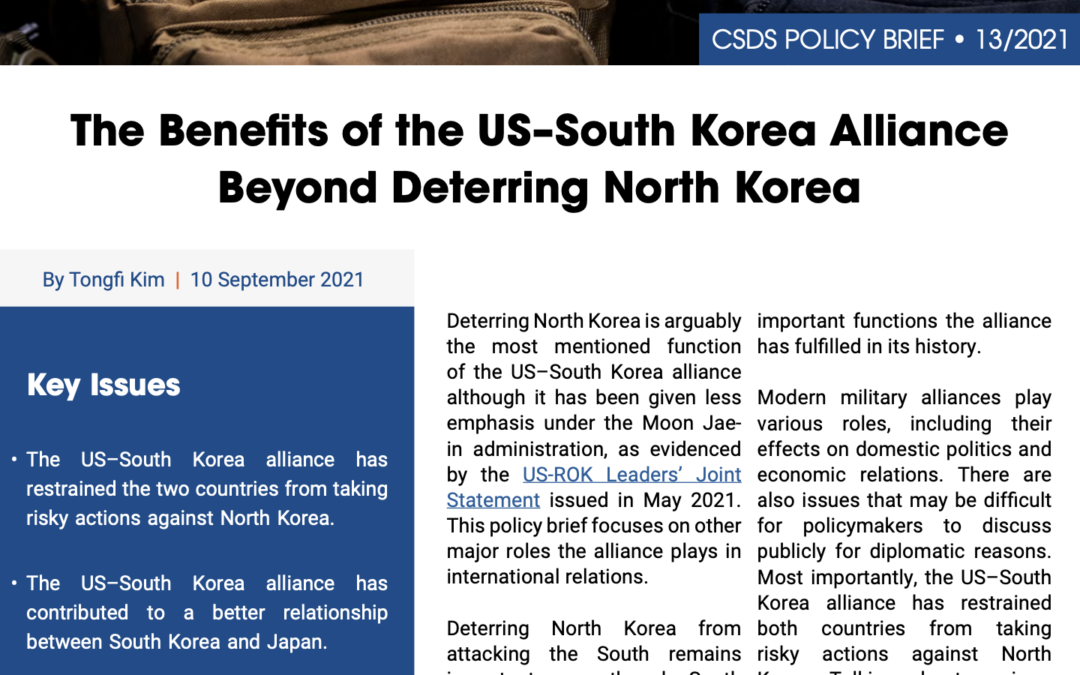 The Benefits of the US–South Korea Alliance Beyond Deterring North Korea